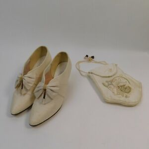 Silk Wedding Shoes Bag Shades By Wedding Day Shoes Size 6 Bow Beaded SA/LH