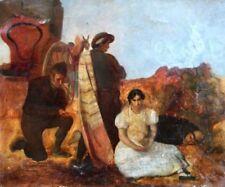 Antique (Pre-1900) Figures Original Art Paintings