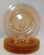 "6 VINTAGE FOSTORIA GLASS AMBER 8 1/2"" LUNCHEON PLATES W/ ROYAL ETCH 1925 - 1932"