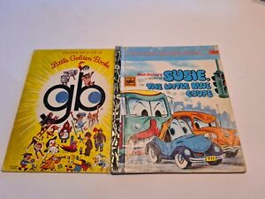 Little Golden book Walt Disney SUSIE, THE LITTLE BLUE COUPE D131 car 1st HC 1970