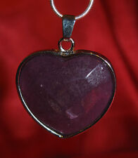 Purple Jade heart stone pendant snake chain necklace healing jewelry