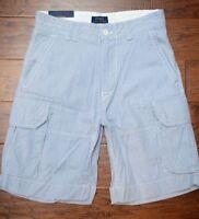Polo Ralph Lauren Men's Light Blue Striped Cotton Cargo Chino Shorts W32