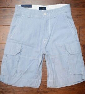 Polo Ralph Lauren Men's Light Blue Striped Cotton Cargo Chino Casual Shorts W30
