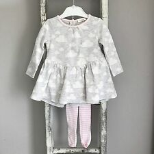 Baby Girl Next Dress & Tights Outfit Size 6-9 Months Grey Pink Cloud