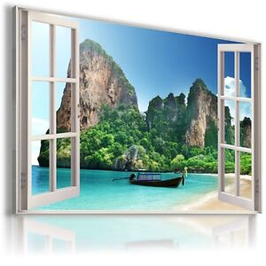 3D PARADISE BAY SEASCAPE Window View Canvas Wall Art Picture Large SIZES W52