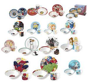 Kids Breakfast Set 3 Pcs Ceramic Plate Bowl Mug Children Porcelain Dinner Disney