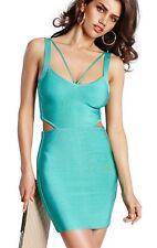 Fashionable blue strap bandage dress