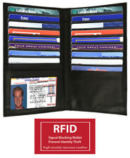 Black RFID Signal Block Leather 19 Card ID Checkbook Organizer Long Wallet+
