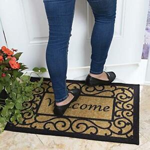 """Welcome Doormat Outdoor Heavy Duty 20"""" x 30"""" Home Door Mat Beige Black 1 Piece"""