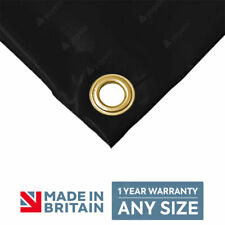 BLACK Heavy Duty 610gsm PVC Tarpaulin Polyester Reinforced Tarp Made To Measure✅
