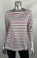 Vineyard Vines Knit Top Womens L White Striped Boat Neck Long Sleeve