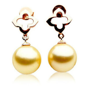 New Pacific Pearls® South Sea Golden Pearl Earrings Rose Gold 12mm Wedding Gifts