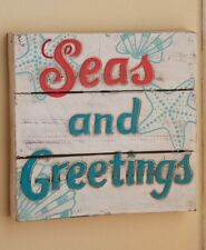 "Oceanside ""SEAS AND GREETINGS"" Starfish Seashell Wooden Christmas Wall Sign"