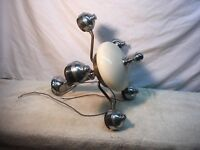Vintage Mid Century Modern Atomic Brass  Retro Ceiling Light 5 arm bullet style
