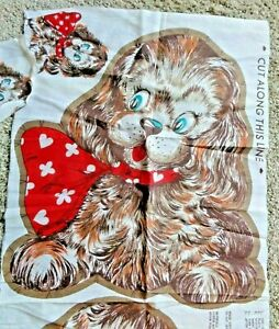 RARE Vintage Puppy Dog Red Heart Scarf Cut And Sew Panel Pillow - Free shipping