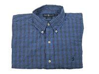 Ralph Lauren LS Long Sleeve Blue Plaid Button Down Blake Shirt Mens M Medium