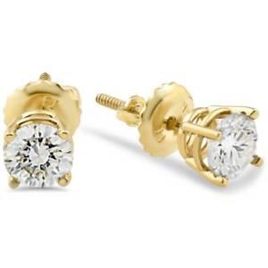 1/2ct Diamond Stud Earrings Solid 14K Yellow Gold Screw Back