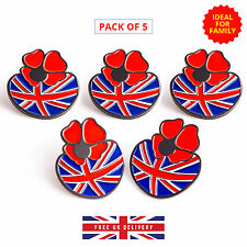 5 * Poppy Pin Badge Remembrance Day Enamel Metal Brooch with British Flag