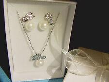 Parure bijoux papillon perle et cristal blanc