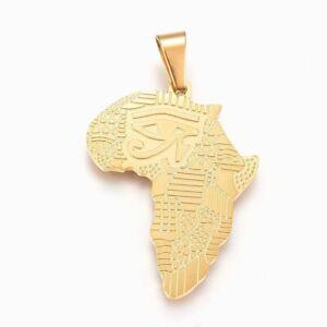 Afrika Edelstahl Anhänger Halskette Gold afrikanischer Kontinent Auge des Ra