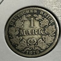 1876-A  GERMANY SILVER ONE MARK COIN