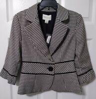 White House Black Market Houndstooth  Blazer Jacket  Womens 8 NWT