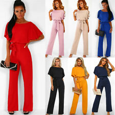 112c6909f6ec UK Womens Casual Wide Leg Jumpsuit Ladies Evening Party Long Playsuit Size  6-16