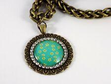 Collier Bronze Grosses Mailles Médaillon Strass Vert Fleuri