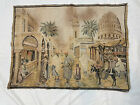 Belgian Antique 32.5x24 Middle East Indian Steet Scene Tapestry