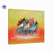 HUGE ABSTRACT OIL PAINTING BICYCLE RACE MODERN NO FRAME