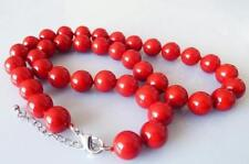 New Rare Genuine Smooth 10mm Coral Red South Sea Shell Pearl Necklac