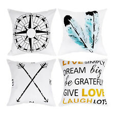 Decorative Throw Cushion Cover Feather Arrow Navigation Compass Pillow Cover