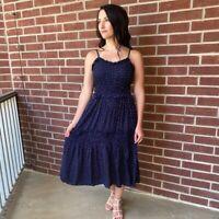 NWT Angie Smocked Ruffle Navy Polka Dot Summer Sun Midi Beach Boho Dress S/M/L