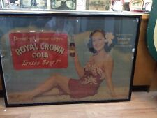 Vintage 1944 Royal Crown Cola Dorothy Lamour Soda Advertising Cardboard Sign