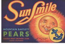 'SUNSHINE' 1920s FARM LABEL EARLY PACKER SO CAL PEARS BLUE ANCHOR MR SUN 9X13---