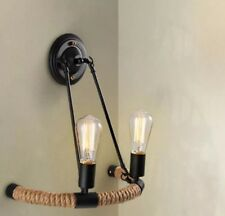 Hemp Rope Modern Vintage Retro Industrial LED Wall Light Sconce Lamp Fitting