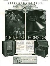 Publicité ancienne radio Ducretet Thomson 1936 issue de magazine