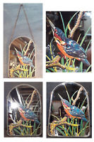 Stunning Small Vintage Kingfisher Glass Window Sun Catcher,Mirror,Window Art.
