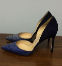 Brand New Manolo Blahnik 'Tayler' Blue Suede/Snakeskin D Orsay Pumps Size 37/7