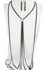 Jewelry Set Pool Necklace Ring Charm Women Pewter Black Color Metal Body Chain