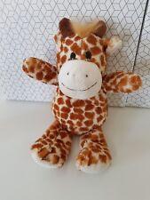 Doudou peluche girafe beige taches marron fourrure criniere NEUF