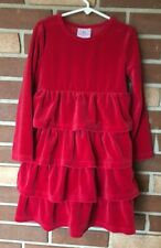 Hanna Andersson Love To Twirl 120 Girls 6 7 Red Velour Ruffle Dress Long Sleeve