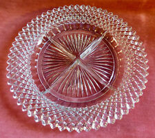 """Vintage Miss America Clear Glass 4 Part Divided Relish Dish 8.75"""" Nice!"""
