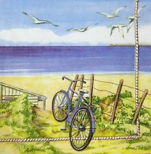 3 x Single Paper Napkins For Decoupage Craft Tissue Bicycle Bike Near Sea M267