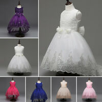 Flower Girl Bow Princess Dress Gown Kids Party Wedding Bridesmaid Formal Dresses
