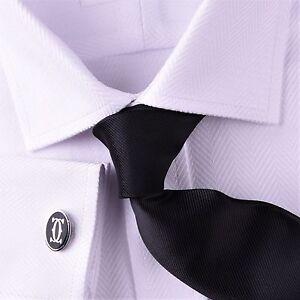 New White Herringbone Formal Business Dress Shirt Classic UK Style