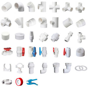 White PVC 40mm ID Pressure Pipe Fittings Metric Solvent Weld Various Parts
