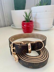 Luxury dog monogram collar with matching leash set combo XL SIZE
