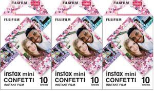 LOT of 3 Fujifilm Instax Mini Confetti Instant Color Film, 30 Exposures