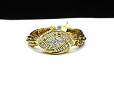 Rare Vintage 18k Yellow Gold and 1.35Ct Diamond Cover Ladies Watch/Bracelet